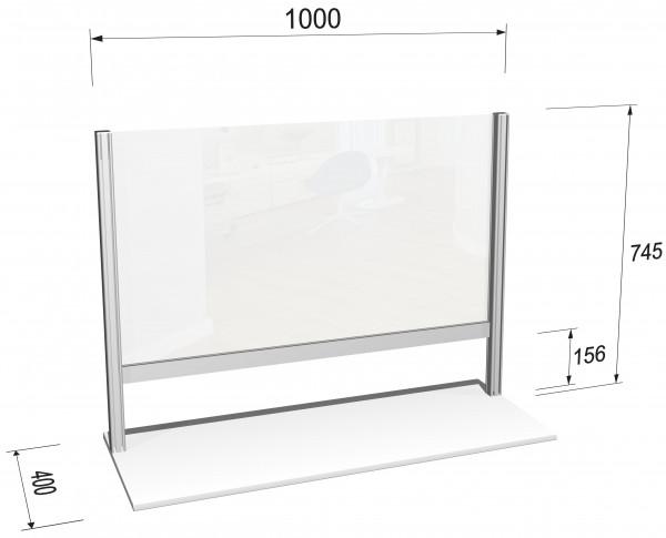 Hygieneschild horizontal L mit Durchreiche