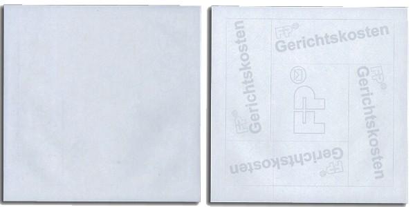 Spezialetiketten für T1000 Gerichtskostenstempler